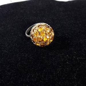 Antique 1920's Glass Citrine Color  cluster Ring